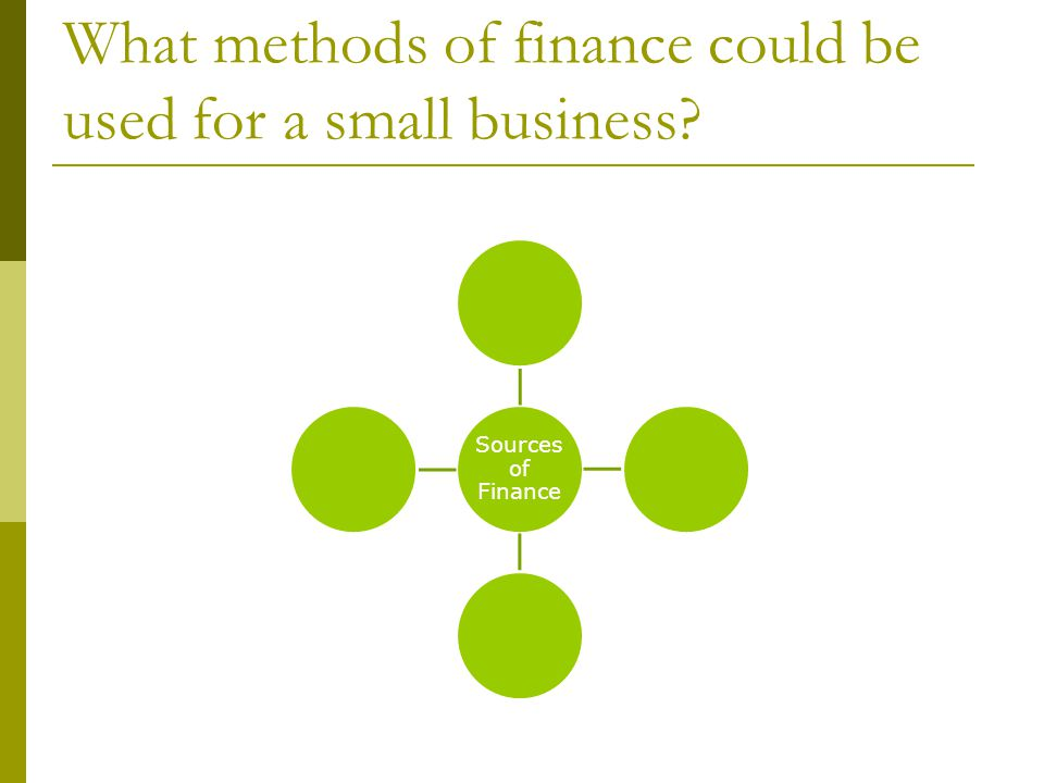 What methods of finance could be used for a small business