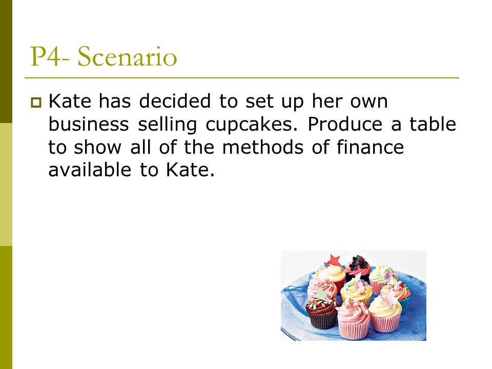 P4- Scenario Kate has decided to set up her own business selling cupcakes.