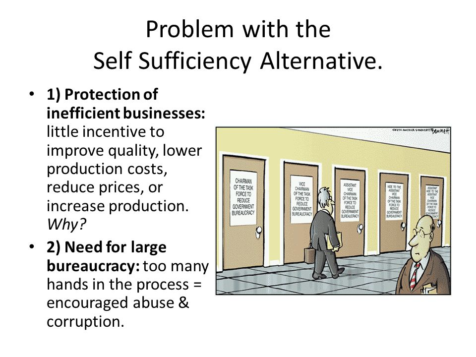 Problem with the Self Sufficiency Alternative.