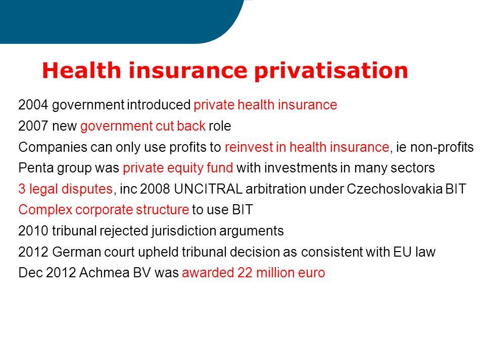 Health insurance privatisation