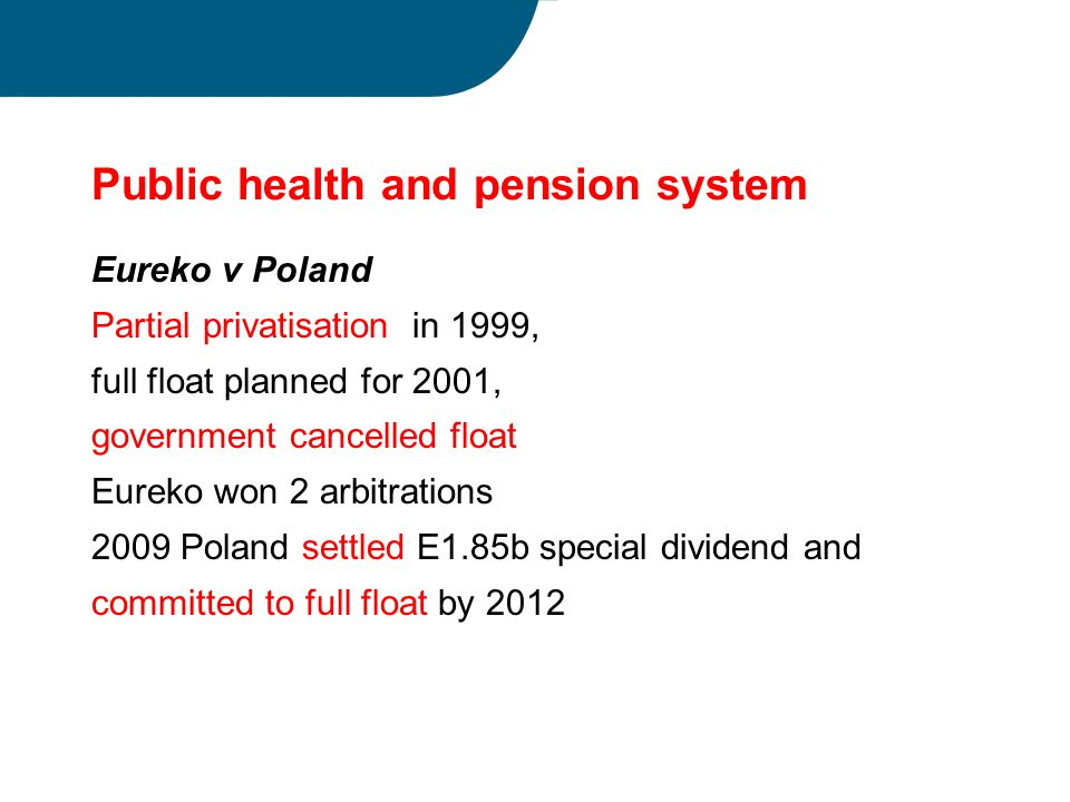Public health and pension system