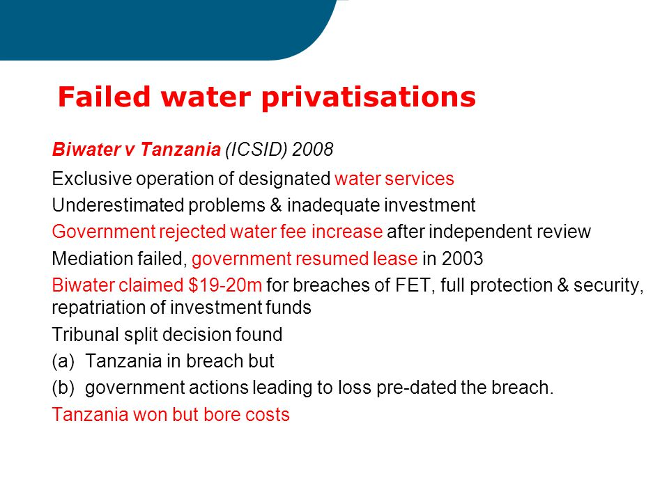 Failed water privatisations