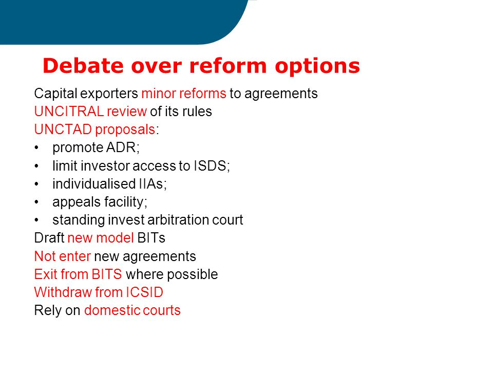 Debate over reform options