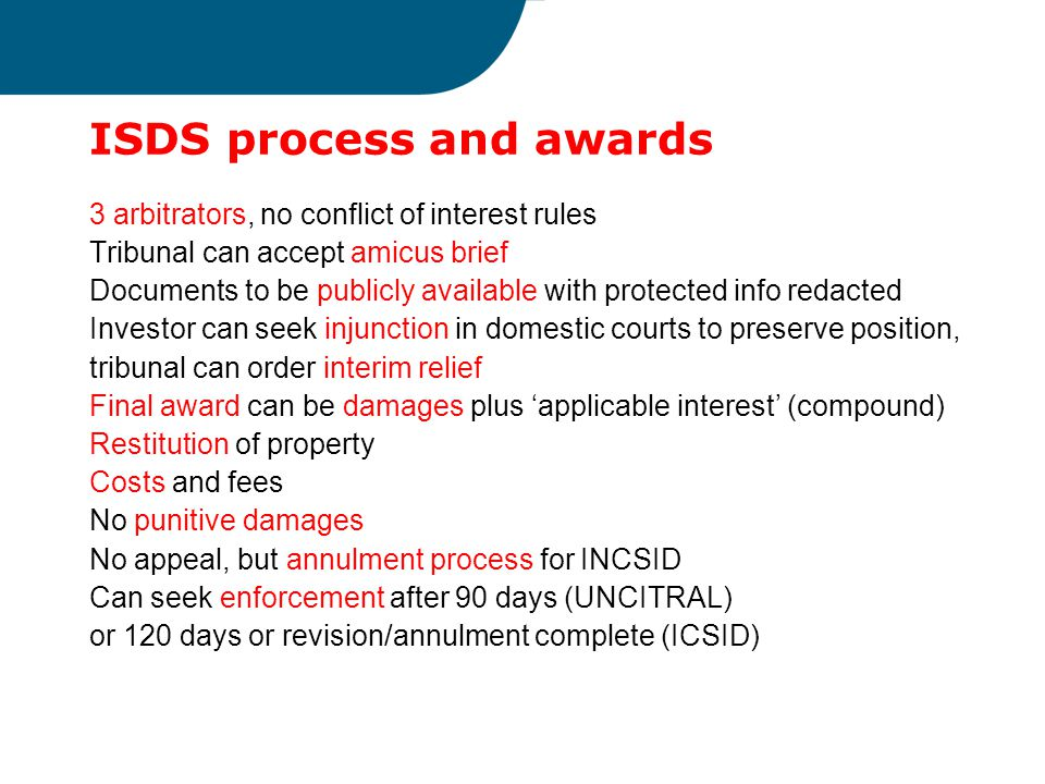 ISDS process and awards