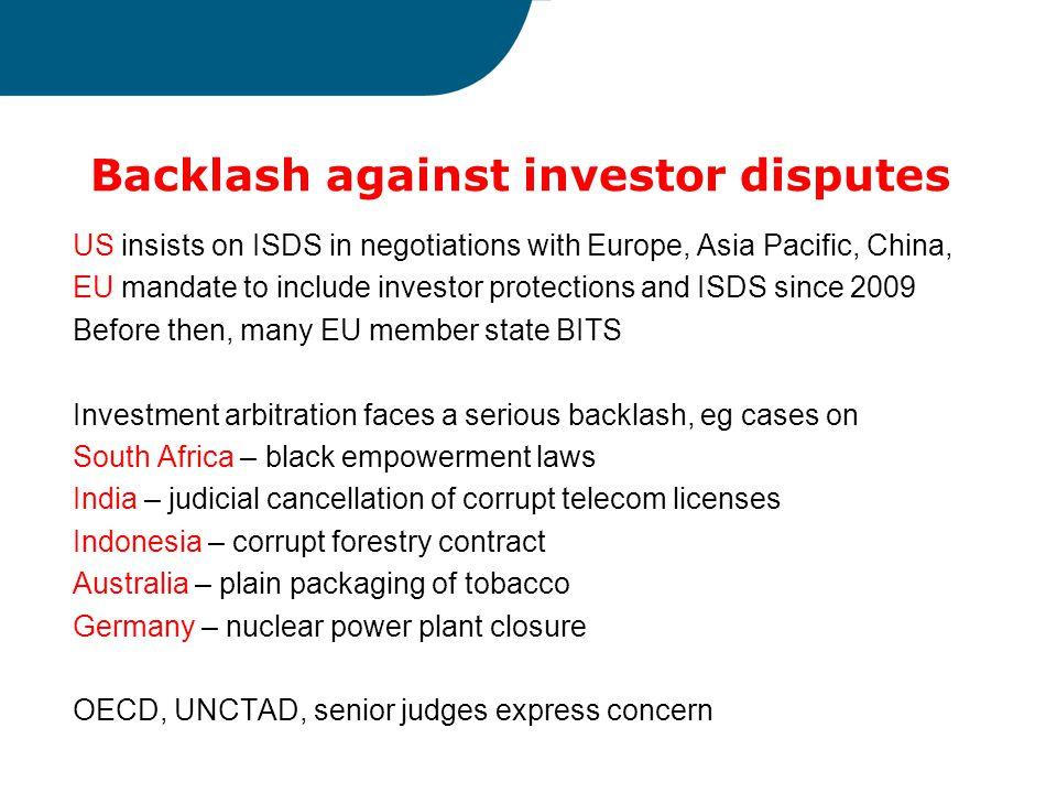 Backlash against investor disputes