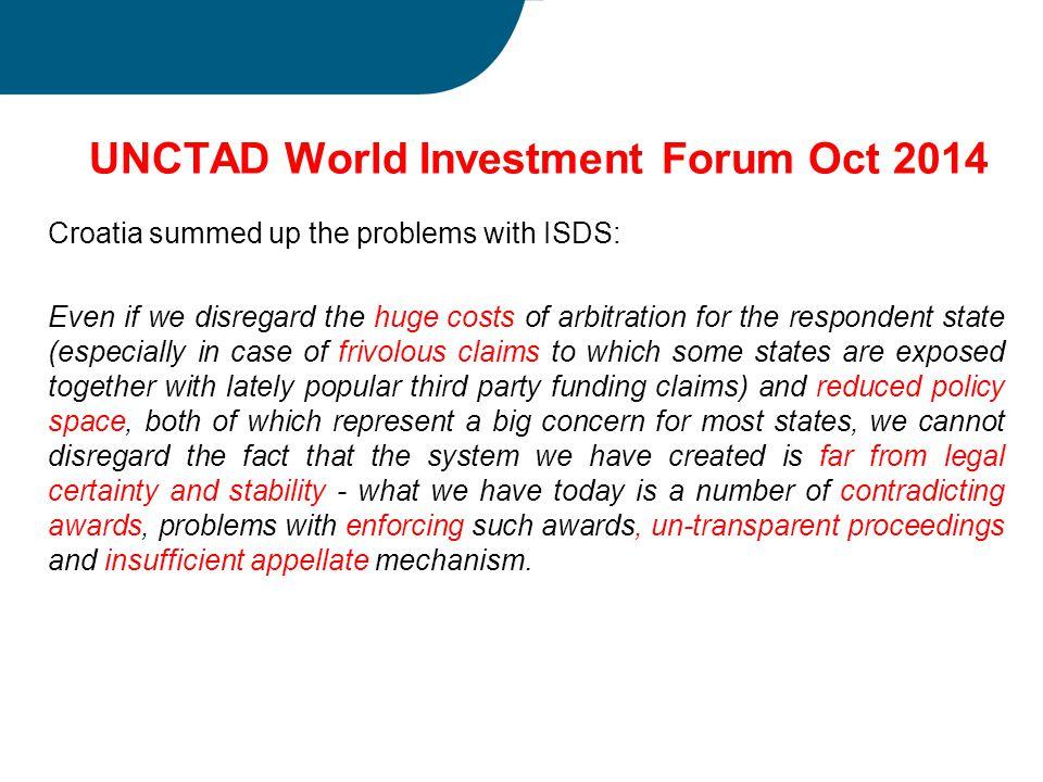 UNCTAD World Investment Forum Oct 2014