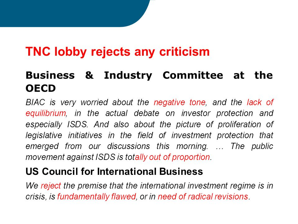 TNC lobby rejects any criticism