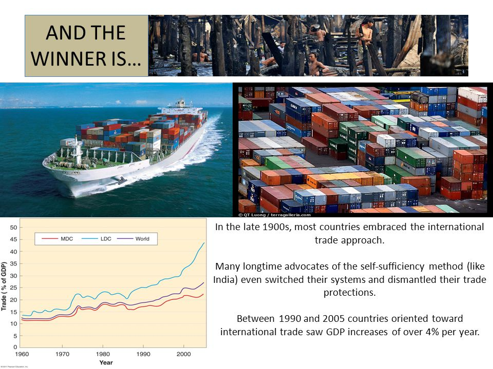 AND THE WINNER IS… In the late 1900s, most countries embraced the international trade approach.