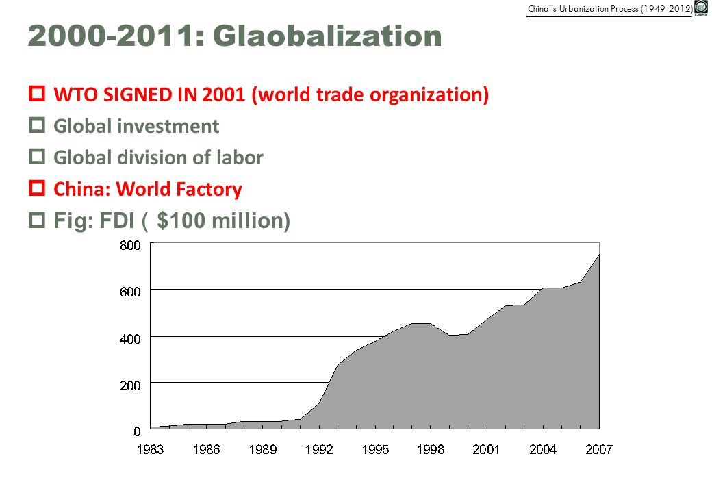2000-2011: Glaobalization WTO SIGNED IN 2001 (world trade organization) Global investment. Global division of labor.