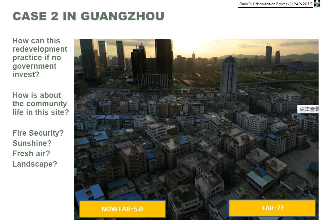 CASE 2 IN GUANGZHOU How can this redevelopment practice if no government invest How is about the community life in this site