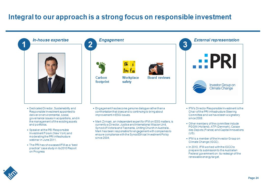 Integral to our approach is a strong focus on responsible investment