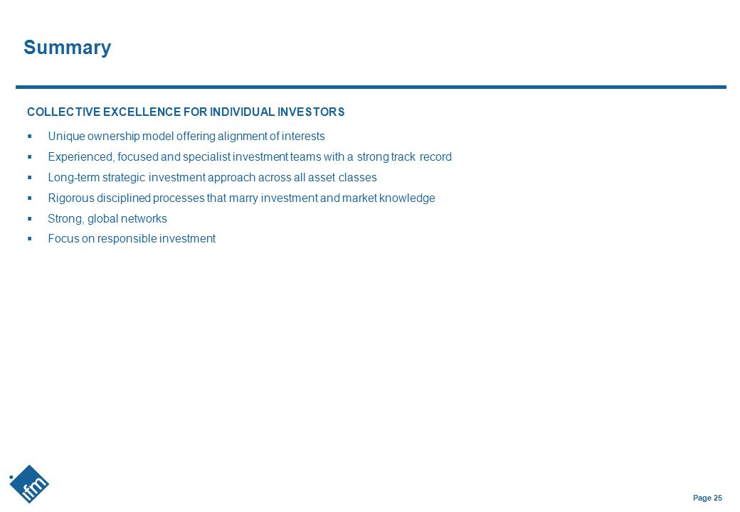 Summary COLLECTIVE EXCELLENCE FOR INDIVIDUAL INVESTORS