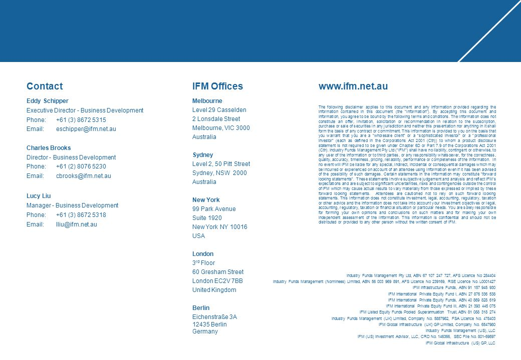 Contact IFM Offices www.ifm.net.au Eddy Schipper