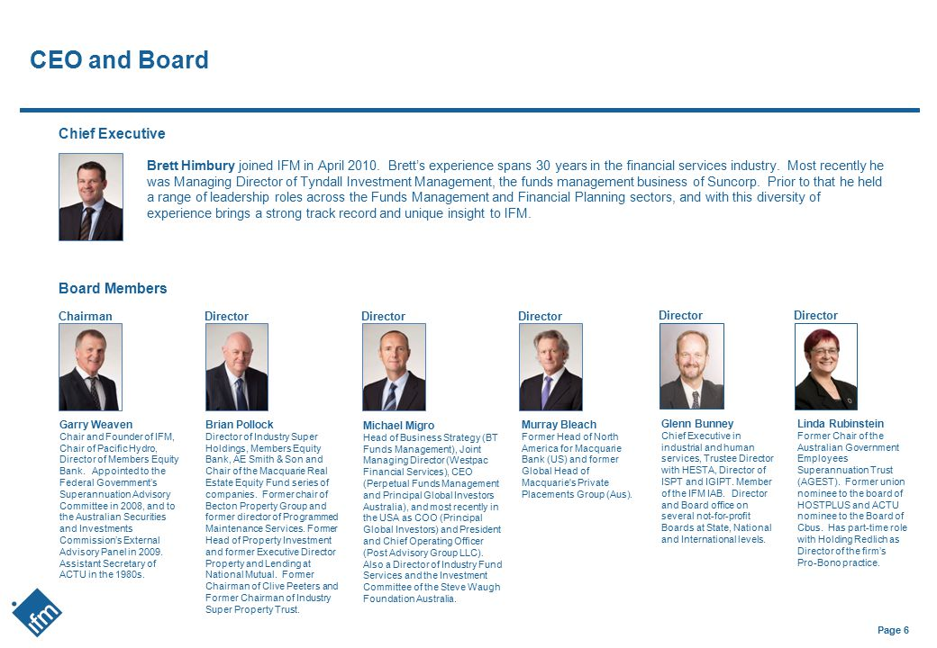 CEO and Board Chief Executive Board Members