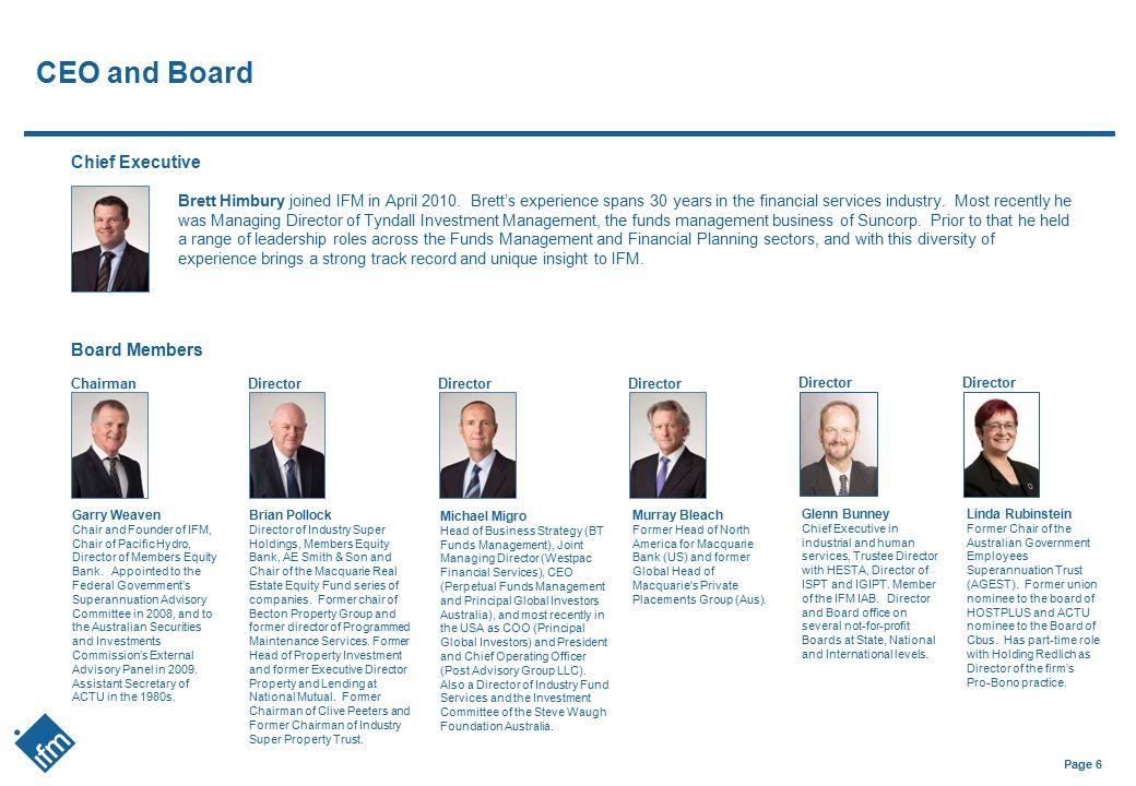 CEO and Board Chief Executive Board Members
