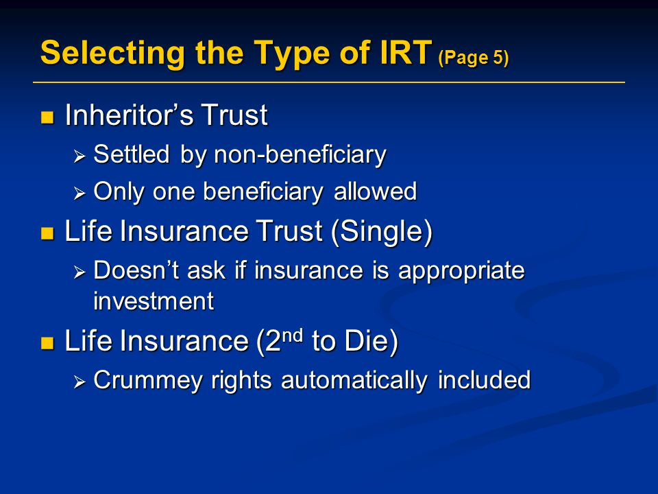 Selecting the Type of IRT (Page 5)