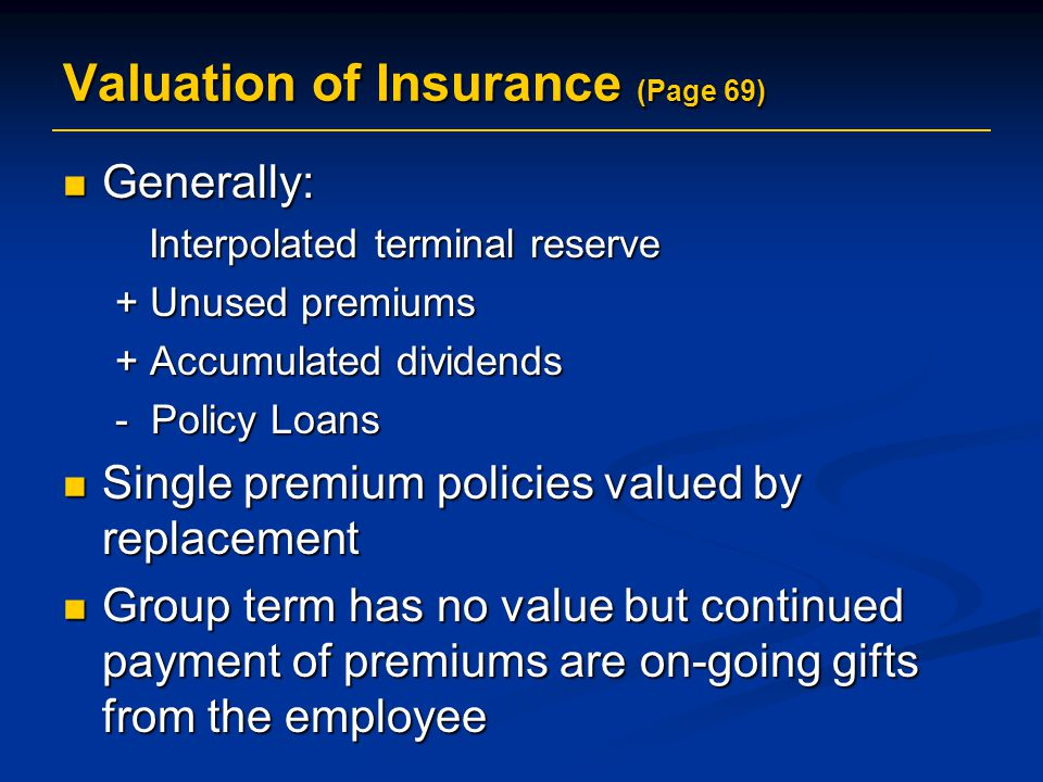 Valuation of Insurance (Page 69)