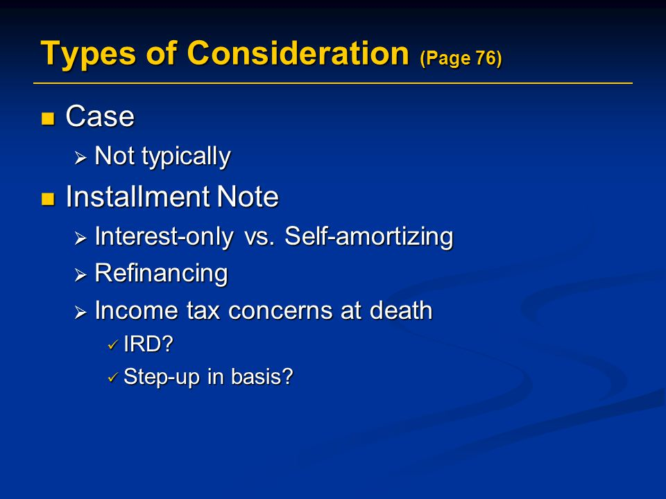 Types of Consideration (Page 76)