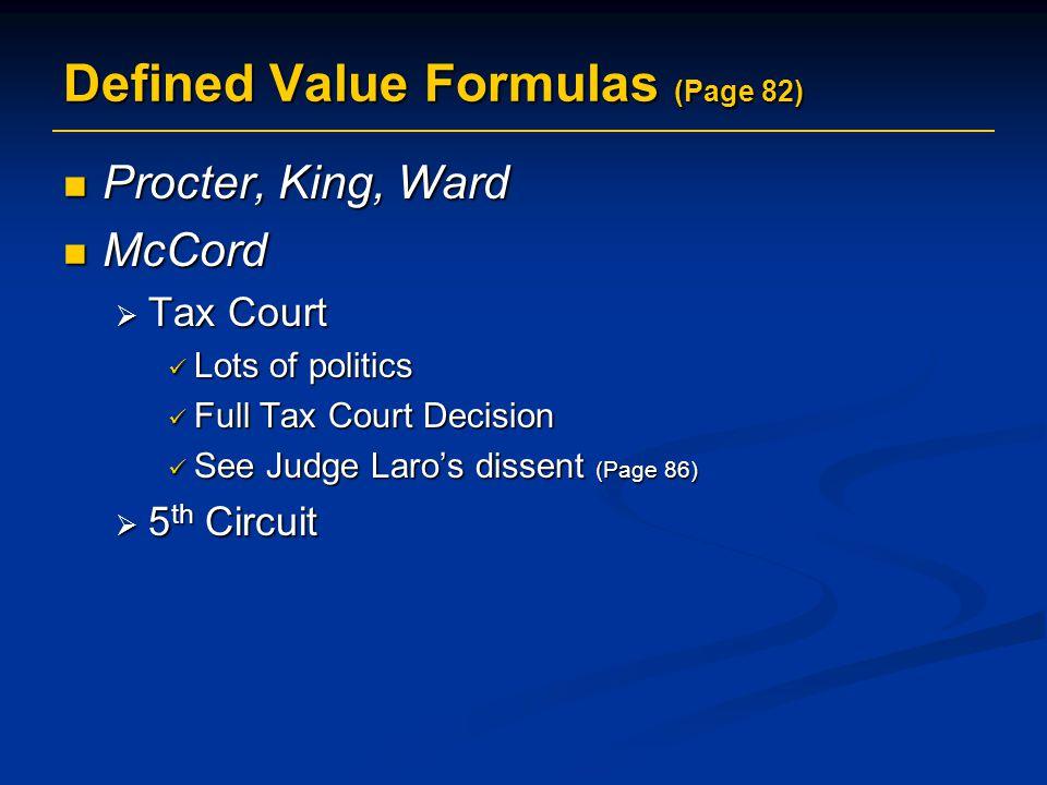 Defined Value Formulas (Page 82)