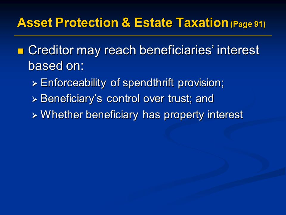 Asset Protection & Estate Taxation (Page 91)