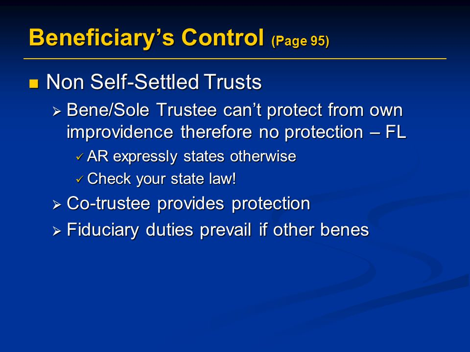 Beneficiary's Control (Page 95)