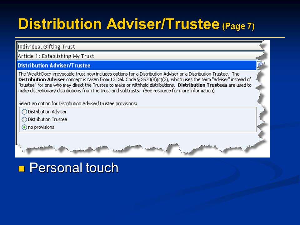 Distribution Adviser/Trustee (Page 7)