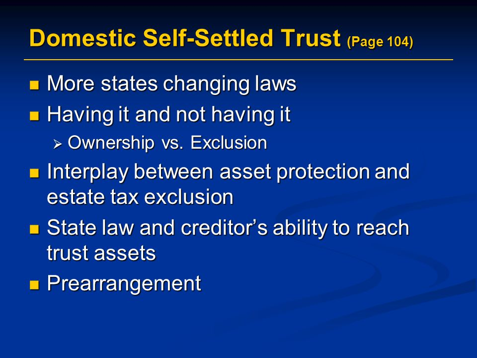 Domestic Self-Settled Trust (Page 104)