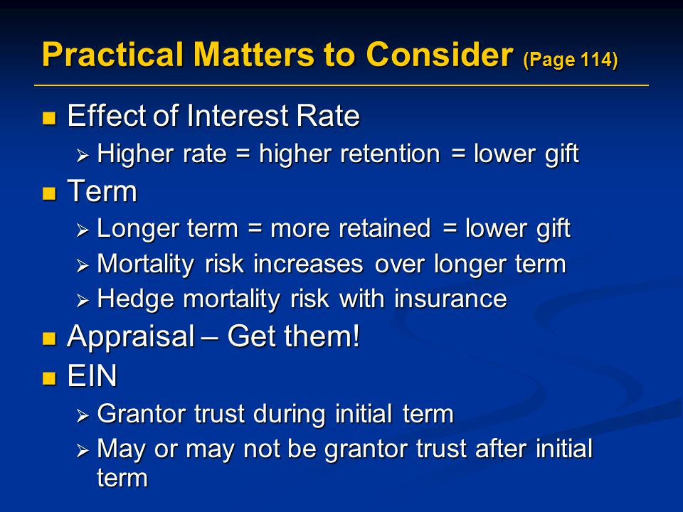Practical Matters to Consider (Page 114)