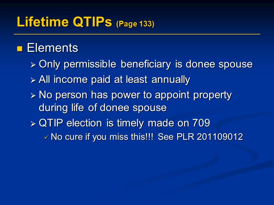 Lifetime QTIPs (Page 133) Elements