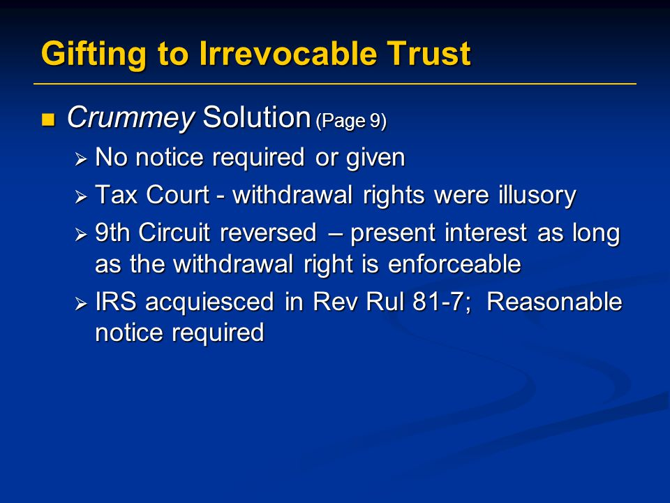 Gifting to Irrevocable Trust