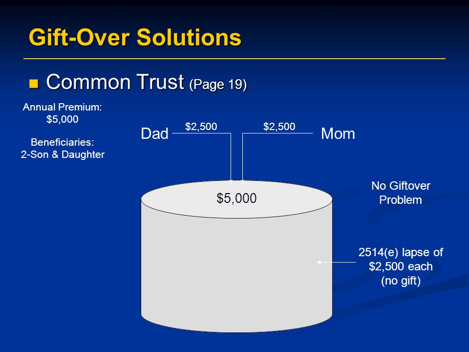 Gift-Over Solutions Common Trust (Page 19) Dad Mom $5,000