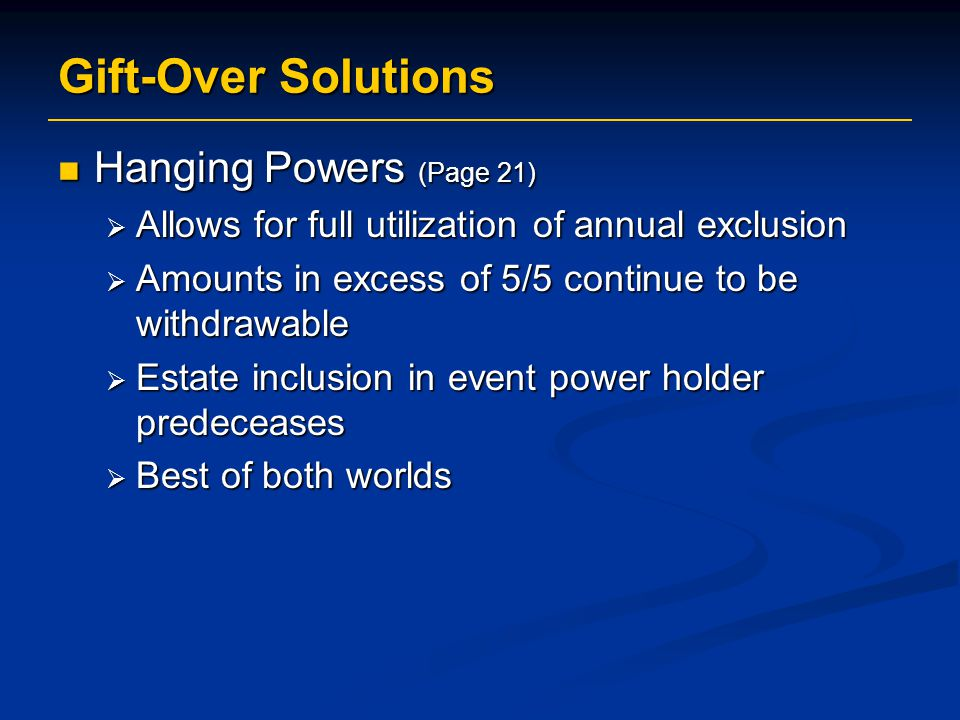 Gift-Over Solutions Hanging Powers (Page 21)
