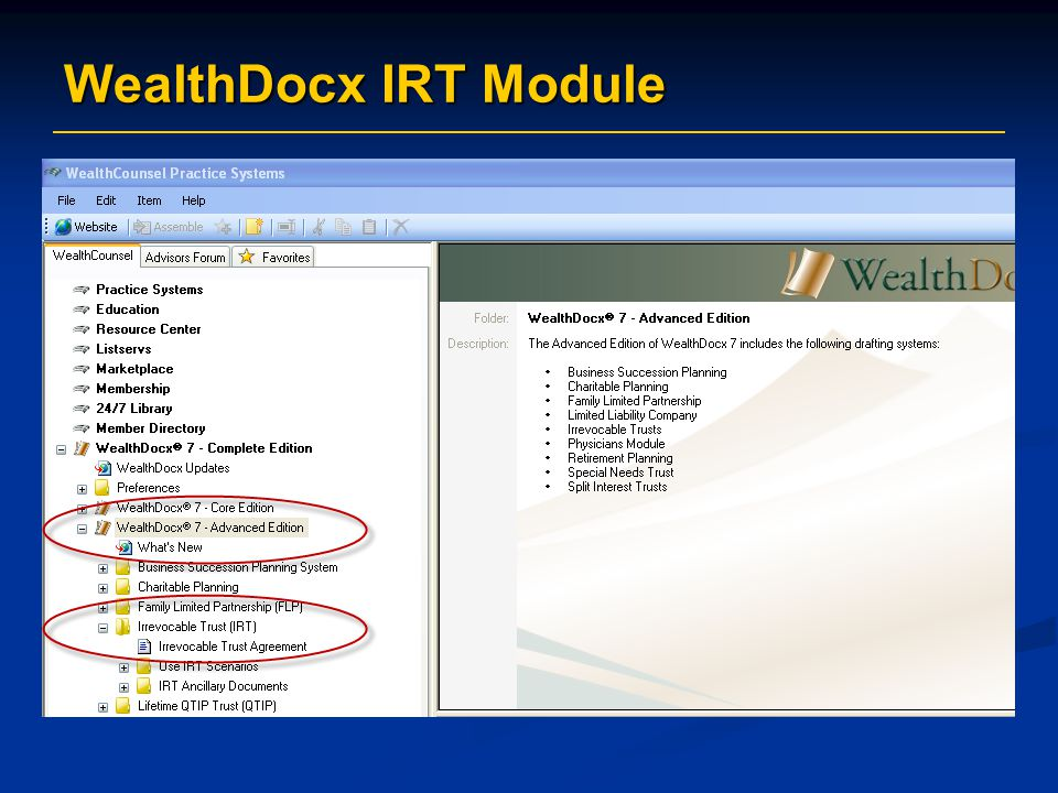 WealthDocx IRT Module