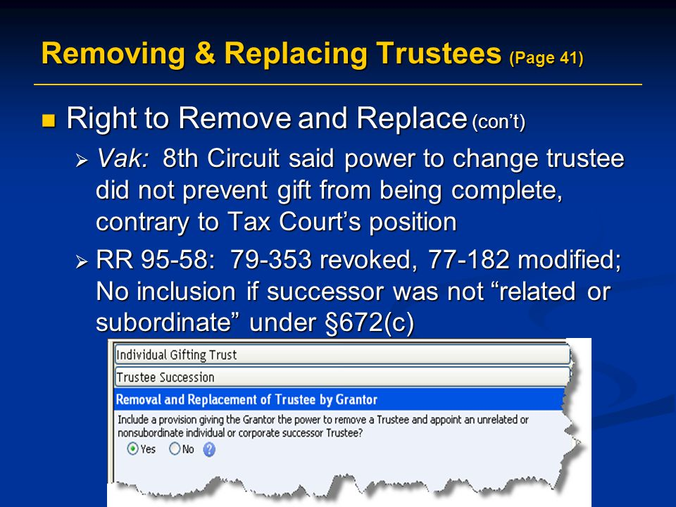 Removing & Replacing Trustees (Page 41)
