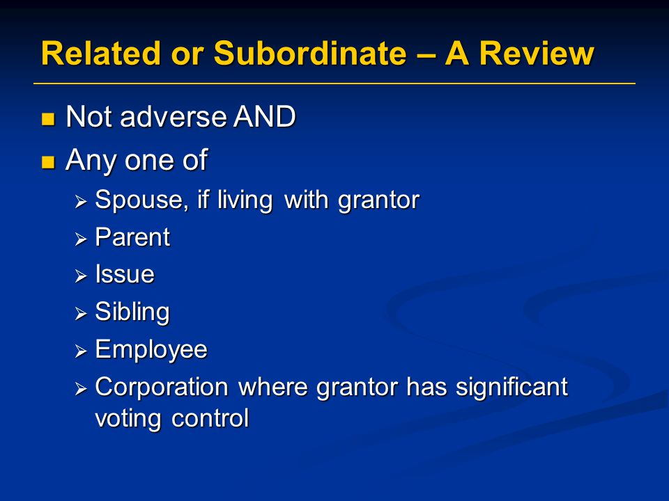 Related or Subordinate – A Review