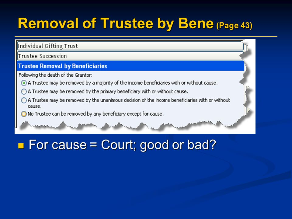 Removal of Trustee by Bene (Page 43)