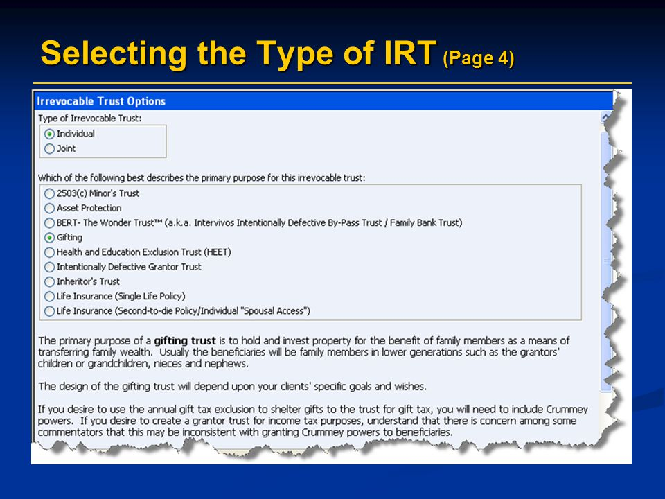 Selecting the Type of IRT (Page 4)