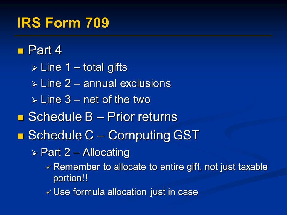IRS Form 709 Part 4 Schedule B – Prior returns