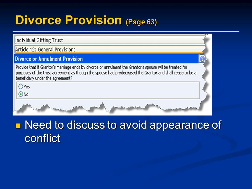 Divorce Provision (Page 63)