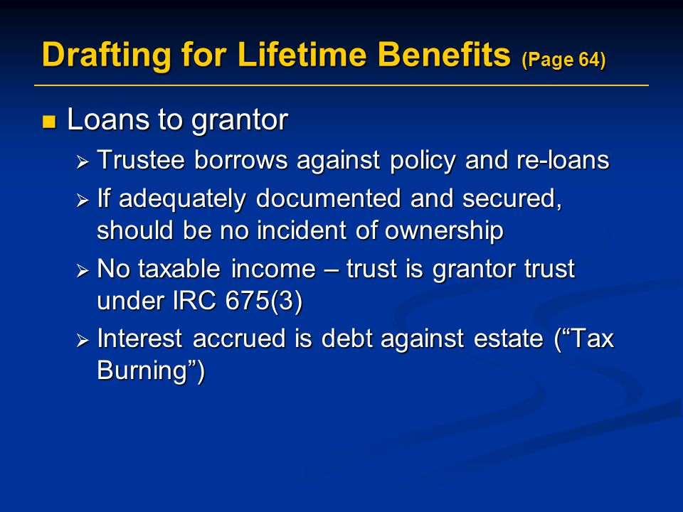 Drafting for Lifetime Benefits (Page 64)