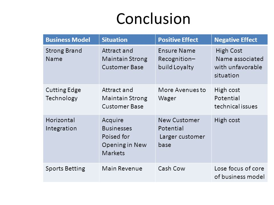 Conclusion Business Model Situation Positive Effect Negative Effect