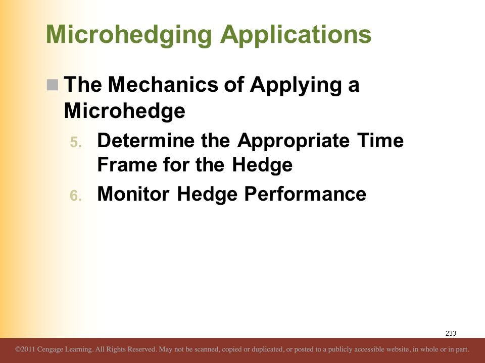 Microhedging Applications