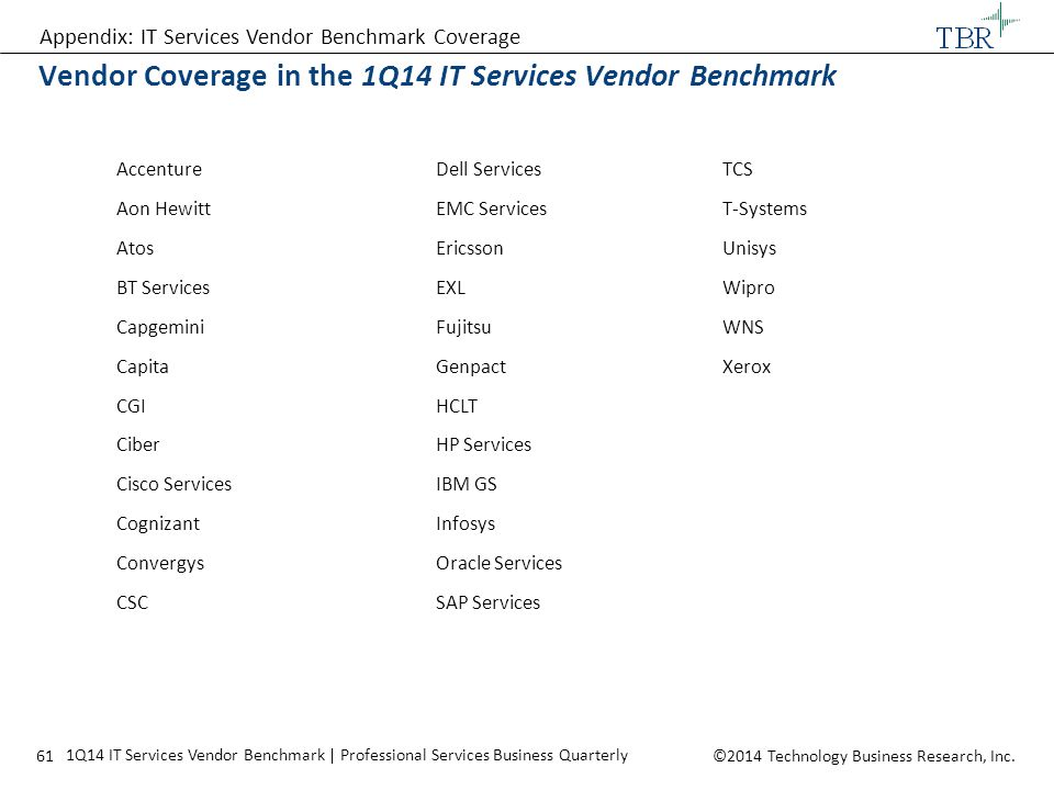 Vendor Coverage in the 1Q14 IT Services Vendor Benchmark