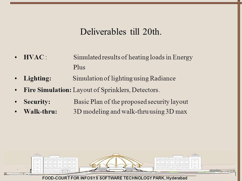 Deliverables till 20th. HVAC : Simulated results of heating loads in Energy. Plus.