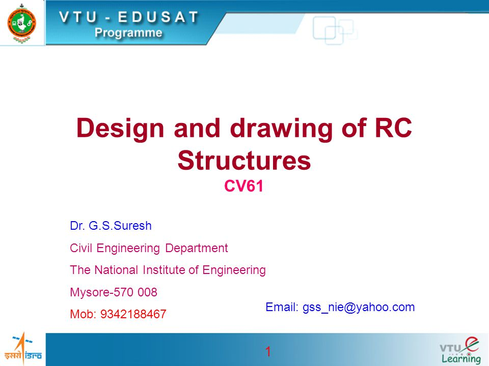 Design and drawing of RC Structures CV61