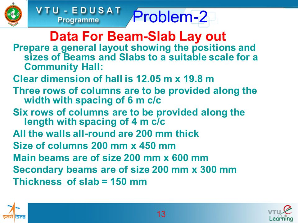 Data For Beam-Slab Lay out