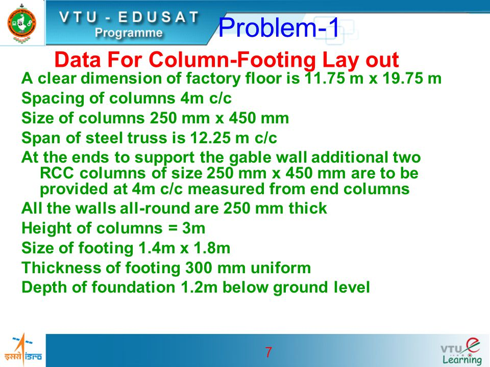 Data For Column-Footing Lay out