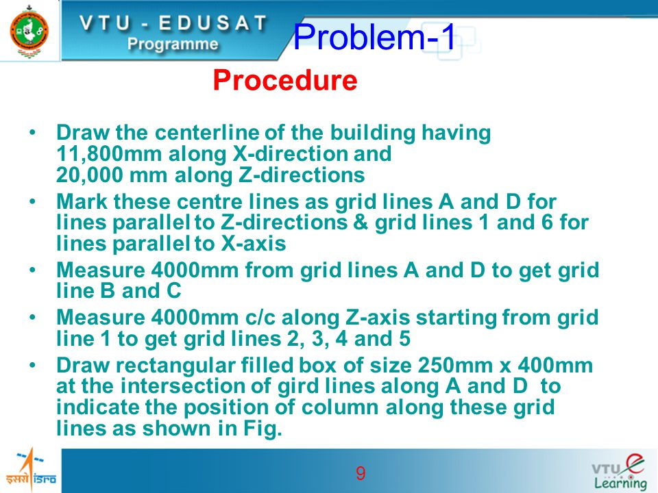 Problem-1 Procedure. Draw the centerline of the building having 11,800mm along X-direction and 20,000 mm along Z-directions.