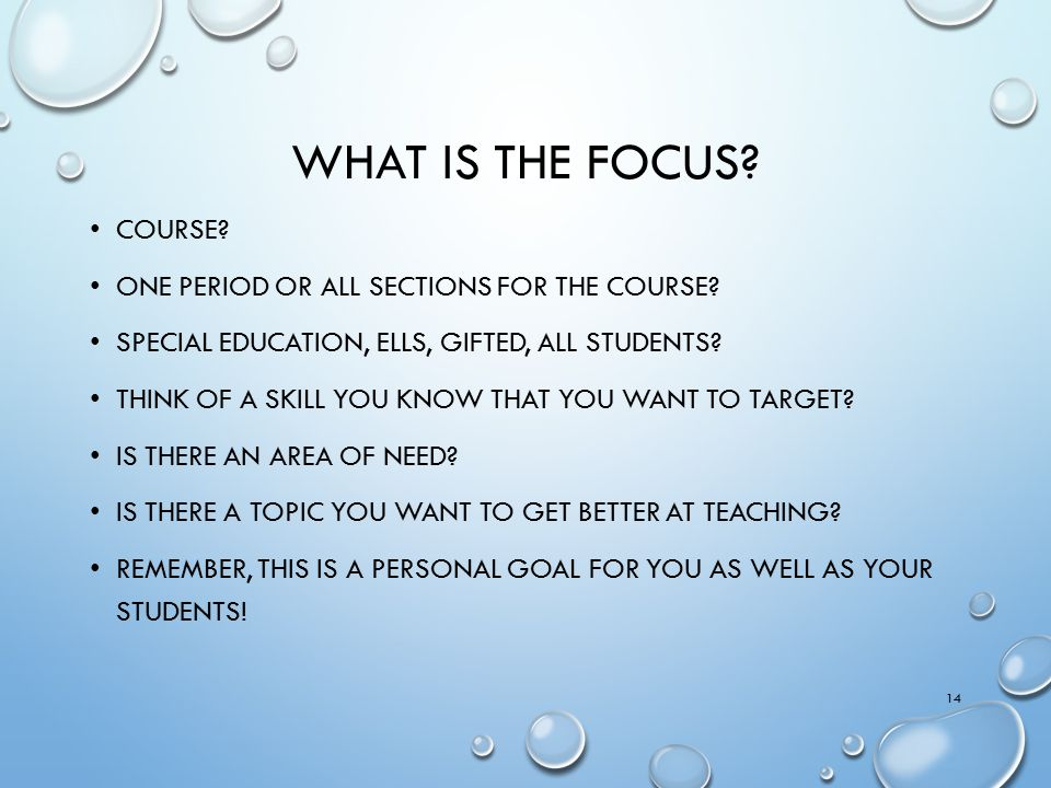 What is the focus Course One period or all sections for the course