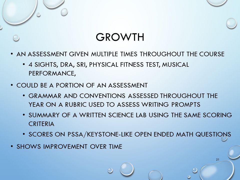 Growth An assessment given multiple times throughout the course